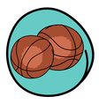 Two Brown Basketballs on Blue Round Background vector image vector image