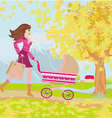 Young mom taking her baby for a stroll through vector image vector image