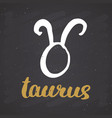 zodiac sign taurus and lettering hand drawn vector image