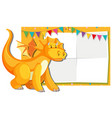 a dragon on paper note template vector image vector image