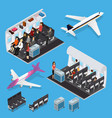 airplane interior elements with people isometric vector image
