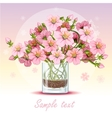 background with cherry blossom in a glass vector image vector image