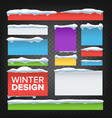 banner button with snow caps holidays vector image vector image