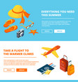 banners summer time isometric of vector image vector image