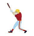 baseball batter in flat style vector image vector image