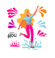 blond young woman having fun throwing colorful vector image vector image