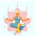 Blue Yoga pose woman skill flat cartoon vector image vector image