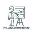 businessman showing presentation board line icon vector image