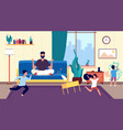 calm dad and kids father meditates among running vector image vector image