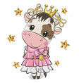 cartoon princess cow on a white background vector image