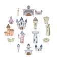 castle tower icons set cartoon style vector image vector image