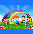 childrens reading book in the park on rainbow day vector image vector image