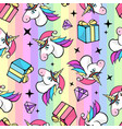 christmas seamless pattern with fantastic unicorn vector image