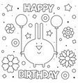 coloring page bunny with vector image vector image