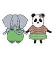 cute female bear panda and elephant vector image