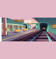 empty subway platform with arriving trains vector image vector image