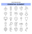essential element line icon set - 25 dashed vector image