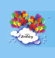 flying paper cut balloons in paper cut style vector image vector image