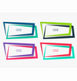 four geometric frames set in different colors vector image vector image