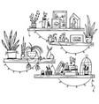 hand drawn bookshelves with books houseplants vector image