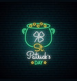 happy saint patricks day neon sign bright vector image vector image