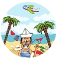 Happy tourist on a tropical vacation vector image