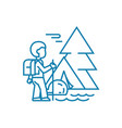 hiking in the mountains linear icon concept vector image