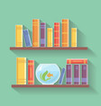Home library flat Bookshelves with vector image