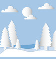landscape with trees and clouds in white paper vector image vector image
