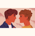 lgbt couple portrait cute young men looking at vector image vector image