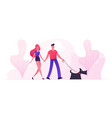loving couple walking with dog in city park in vector image vector image