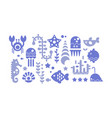 marine life blue icons set sea creatures vector image
