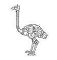 mechanical ostrich bird animal engraving vector image vector image
