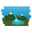 mountains with snow canadian scene vector image