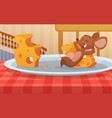 mouse sitting on plate and eats cheese funny vector image