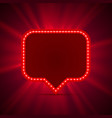 neon frame sign in the shape of a chat vector image vector image