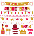 new year 2020 decoration set - party vector image