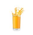 Orange Juice in Glass with Splash vector image vector image
