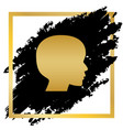 people head sign golden icon at black vector image