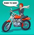 pop art biker woman in helmet riding a motorcycle vector image vector image