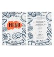 restaurant food menu hand drawn design vector image vector image