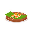 rice balls topped with sweet sauce on green leaf vector image vector image