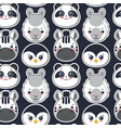 seamless pattern with cute black and white vector image vector image