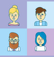 set people head with hairstyle design vector image vector image