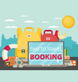 time to travel set travel equipment flat vector image vector image