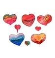 Watercolor heart set vector image vector image