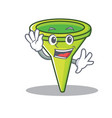 waving funnel character cartoon style vector image vector image