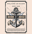 welcome on board pirate sabers and marine anchor vector image