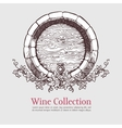 Wine barrel with grapes wreath vector image vector image