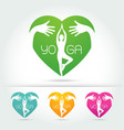 yoga poses in heart with hug hand vector image vector image
